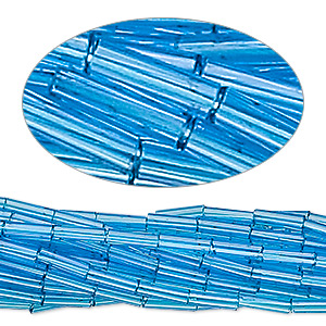 bugle bead, preciosa, czech glass, transparent sea blue, #3. sold per 1/2 kilogram pkg.