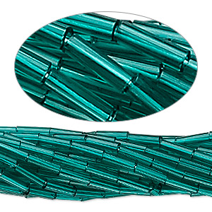 bugle bead, preciosa, czech glass, transparent teal, #3. sold per hank.