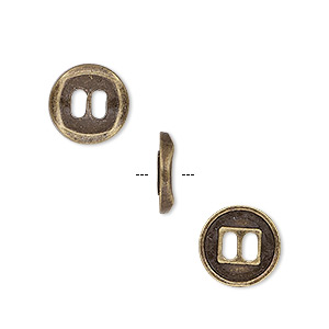 button, antique brass-plated pewter (zinc-based alloy), 11mm single-sided concave flat round. sold per pkg of 50.