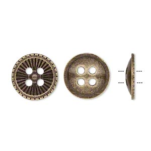 button, antique brass-plated pewter (zinc-based alloy), 18mm single-sided corrugated round. sold per pkg of 20.