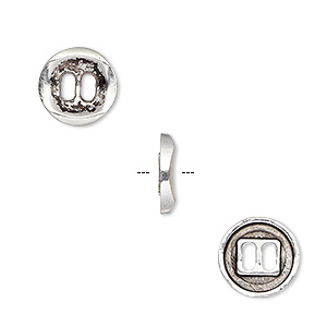 button, antique silver-plated pewter (zinc-based alloy), 11mm single-sided concave flat round. sold per pkg of 50.