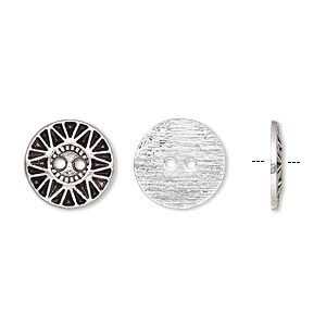 button, antique silver-plated pewter (zinc-based alloy), 12.5mm single-sided flat round with sunburst design. sold per pkg of 50.