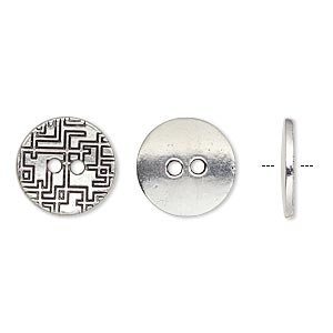 button, antique silver-plated pewter (zinc-based alloy), 15mm single-sided flat round with geometric design. sold per pkg of 20.