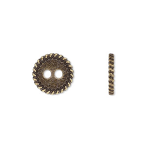 button, antiqued brass-finished pewter (zinc-based alloy), 12.5mm double-sided flat round with rope edge. sold per pkg of 50.