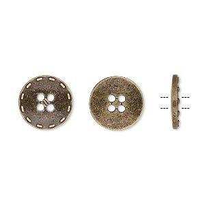 button, antiqued brass-finished pewter (zinc-based alloy), 12mm single-sided flat round with stitched edge. sold per pkg of 50.
