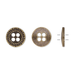 button, antiqued brass-finished pewter (zinc-based alloy), 12mm single-sided flat round with greek key design. sold per pkg of 50.
