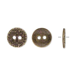 button, antiqued brass-finished pewter (zinc-based alloy), 12mm single-sided flat round with geometric design. sold per pkg of 50.