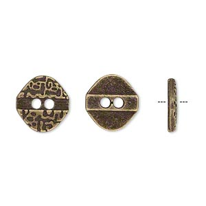button, antiqued brass-finished pewter (zinc-based alloy), 12x11.5mm single-sided textured flat diamond. sold per pkg of 50.