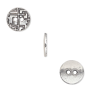 button, antiqued silver-finished pewter (zinc-based alloy), 12mm single-sided flat round with geometric design. sold per pkg of 50.