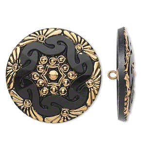 button, czech glass and brass, black and gold, 41mm round with floral design. sold individually.