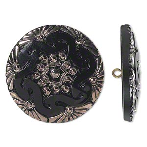 button, czech glass and brass, black and silver, 41mm round with floral design. sold individually.