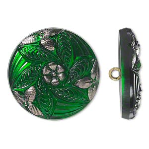 button, czech glass and brass, emerald green and silver, 27mm round with flower design. sold individually.