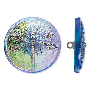 button, czech glass and brass, iridescent sapphire blue and silver, 31mm round with dragonfly design. sold individually.