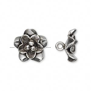 button, hill tribes, antiqued fine silver, 15mm flower. sold individually.