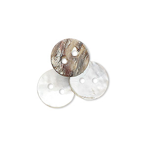 button, mussel shell (natural), 11mm round, mohs hardness 3-1/2. sold per pkg of 100.