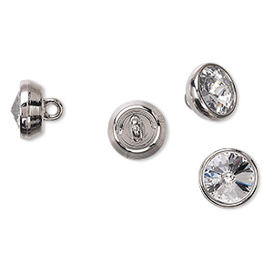button, swarovski crystals and acrylic, crystal clear and silver, 10mm round. sold per pkg of 144 (1 gross).