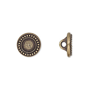 button, tierracast, antique brass-plated pewter (tin-based alloy), 12mm beaded flat round with hidden loop and ss34 round setting. sold individually.