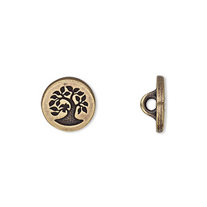 button, tierracast, antique brass-plated pewter (tin-based alloy), 12mm flat round with bird in tree and hidden loop. sold individually.