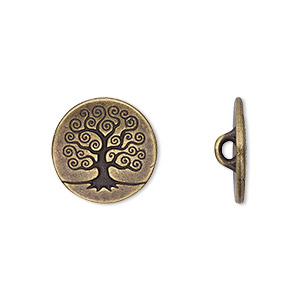 button, tierracast, antique brass-plated pewter (tin-based alloy), 16mm flat round with tree of life and hidden closed loop. sold per pkg of 2.