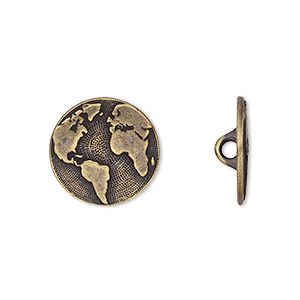 button, tierracast, antique brass-plated pewter (tin-based alloy), 16mm flat round with earth and hidden closed loop. sold per pkg of 2.