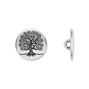 button, tierracast, antique silver-plated pewter (tin-based alloy), 16mm flat round with tree of life and hidden loop. sold per pkg of 2.
