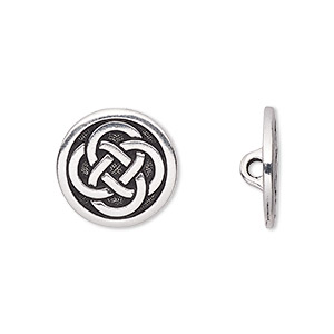 button, tierracast, antique silver-plated pewter (tin-based alloy), 16mm flat round with celtic knot and hidden closed loop. sold per pkg of 2.