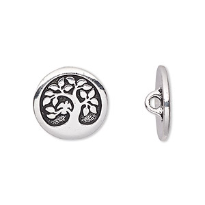 button, tierracast, antique silver-plated pewter (tin-based alloy), 16mm flat round with bird in a tree and hidden closed loop. sold per pkg of 2.