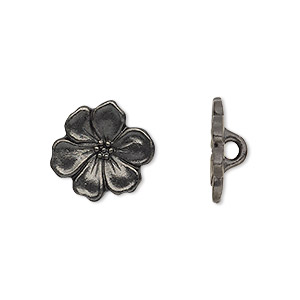 button, tierracast, black-plated pewter (tin-based alloy), 15x14mm flower with hidden loop. sold per pkg of 2.
