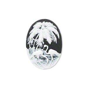 cabochon, acrylic, black and white, 25x18mm non-calibrated oval cameo with palm tree and flamingo. sold individually.
