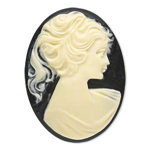 cabochon, acrylic, ivory and black, 40x30mm non-calibrated oval cameo with woman. sold individually.