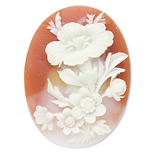 cabochon, acrylic, peach and white, 40x30mm left-facing non-calibrated oval cameo with flower. sold individually.