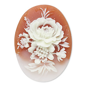 cabochon, acrylic, peach and white, 40x30mm non-calibrated oval cameo with flower. sold individually.