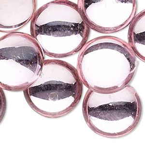 cabochon, acrylic, transparent pink, 20mm non-calibrated round. sold per pkg of 24.