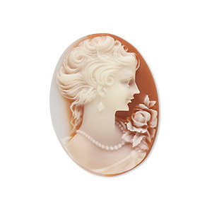cabochon, acrylic, white and peach, 30x22mm right-facing non-calibrated oval cameo with woman. sold individually.