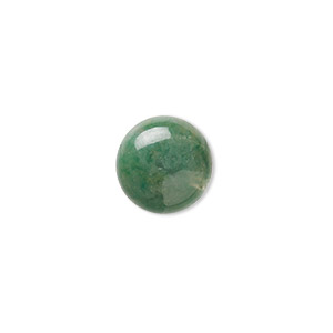 cabochon, african jade (natural), 14mm calibrated round, b grade, mohs hardness 7. sold per pkg of 2.