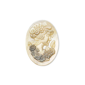 cabochon, black lip shell (natural), 23x17mm calibrated carved oval cameo with lady and flowers, mohs hardness 3-1/2. sold individually.