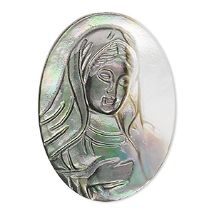 cabochon, black lip shell (natural), 23x17mm laser-carved calibrated oval cameo with madonna, mohs hardness 3-1/2. sold individually.