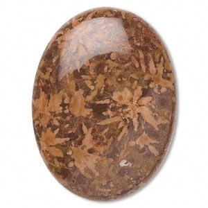 cabochon, chrysanthemum stone (natural), 40x30mm calibrated oval, b grade, mohs hardness 3 to 4. sold individually.