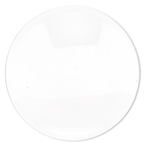 cabochon, glass, transparent clear, 35mm non-calibrated round. sold per pkg of 4.