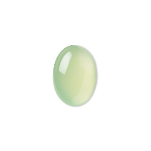 cabochon, green chalcedony (dyed), light to medium, 18x13mm calibrated oval, b grade, mohs hardness 6-1/2 to 7. sold individually.