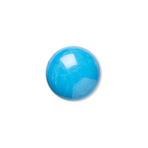 cabochon, howlite (dyed), turquoise blue, 14mm calibrated round, b grade, mohs hardness 3 to 3-1/2. sold per pkg of 6.