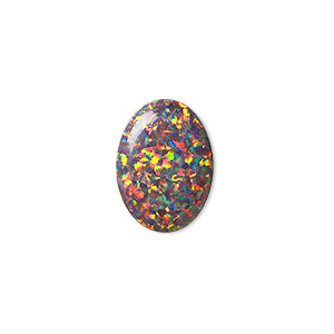 cabochon, mexican opal (man-made), multicolored, 18x13mm calibrated oval. sold individually.