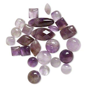 cabochon mix, amethyst (natural), 4mm-18x10mm non-calibrated mixed shape, mohs hardness 7. sold per pkg of 25.