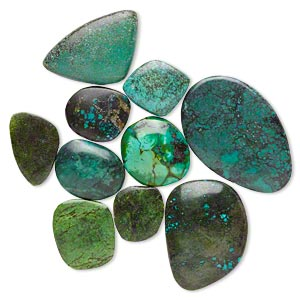cabochon mix, magnesite and turquoise (dyed / stabilized), blue / green / blue-green, 26x17mm-49x39mm freeform, mohs hardness 3-1/2 to 4. sold per pkg of 10.