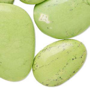 cabochon mix, magnesite (dyed / stabilized), apple green, 26x22mm-41x29mm non-calibrated mixed shape, mohs hardness 3-1/2 to 4. sold per 100-gram pkg, approximately 10-15 cabochons.