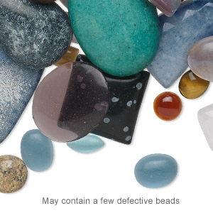 cabochon mix, multi-gemstone / shell (natural / dyed / man-made) / glass, mixed colors, 4x2mm-44x38mm non-calibrated mixed shape. sold per 1/4 pound pkg, approximately 65-95 cabochons.