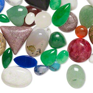 cabochon mix, multi-gemstone (natural / dyed / stabilized / manmade / imitation), mixed colors, 4mm-18x10mm non-calibrated mixed shape. sold per pkg of 25.