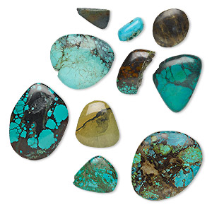 cabochon mix, turquoise (dyed / stabilized), 25x20mm-65x50mm non-calibrated freeform, mohs hardness 5 to 6. sold per 50-gram pkg, approximately 1-10 cabochons.
