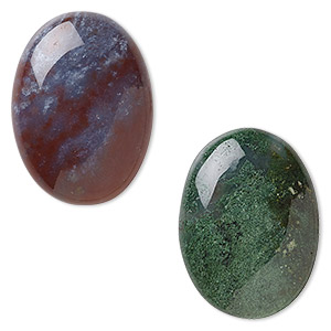 cabochon, multi-agate (natural), 30x22mm hand-cut non-calibrated oval, b grade, mohs 6-1/2 to 7. sold per pkg of 2.