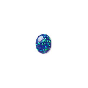 cabochon, opal (man-made), dark blue, 10x8mm calibrated oval. sold individually.